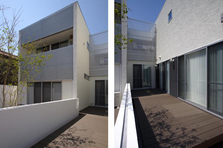 吹田の家 (2棟の間にある中庭)