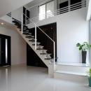 吹田の家の写真 モダンな階段と吹き抜け