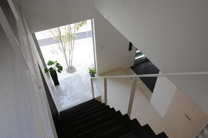 吹田の家の部屋 階段からシンボルツリーを眺める
