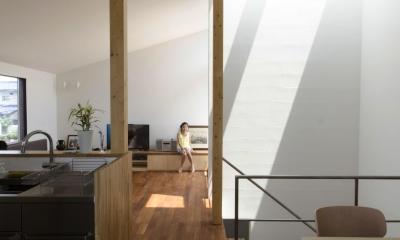 柿の木台M邸-天窓付き階段を中央に配する2階リビングの家-