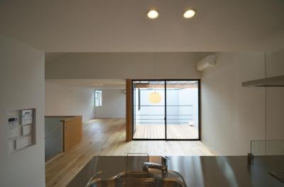 下連雀Y邸-L・D・K・中庭の関係性がつくりだす心地よい空間- (キッチンから中庭を見る)