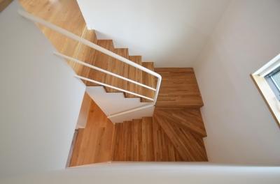 階段 (下連雀Y邸-L・D・K・中庭の関係性がつくりだす心地よい空間-)