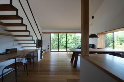 元石川町M邸-おおらかな片流れ屋根の下から望む眺めの家- (リビング)