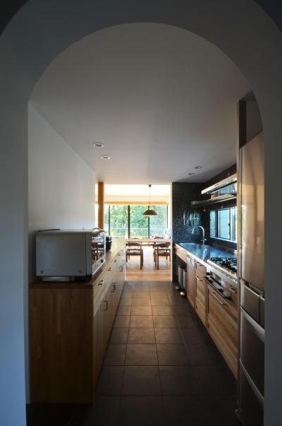 キッチン (元石川町M邸-おおらかな片流れ屋根の下から望む眺めの家-)