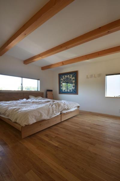 寝室 (元石川町M邸-おおらかな片流れ屋根の下から望む眺めの家-)