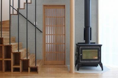 箱階段・薪ストーブ (笹谷の家)