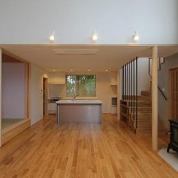 笹谷の家 (吹き抜けと薪ストーブのあるLDK 1)