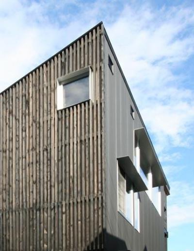 SKY FIELD HOUSE (竪格子とガルバリウム鋼板小波板の外壁)
