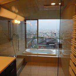 芦屋の家-ガラス張りのバスルームから見る景色