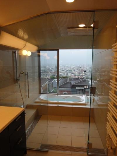 ガラス張りのバスルームから見る景色 (芦屋の家)