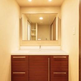 サイザル麻に合わせたアースカラーの漆喰壁のある洗面室