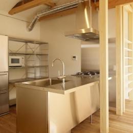 東京都千住の家 (機能的なステンレス製の造作キッチン)