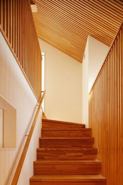 南大阪の家② (木製竪格子壁が目を引く階段)