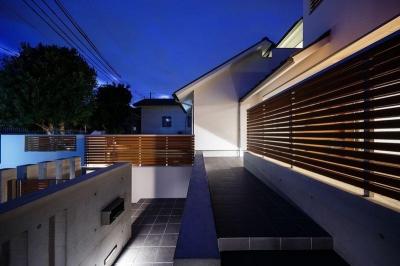 南大阪の家② (ライトアップしたアプローチ階段)