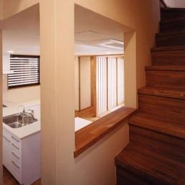 会話ができるキッチンと階段