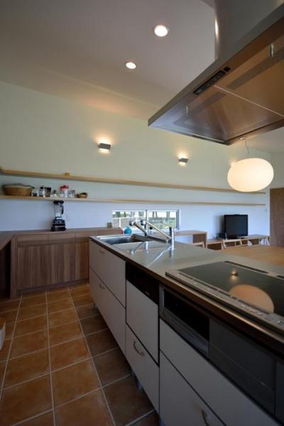 白い対面型キッチン (Ballena)