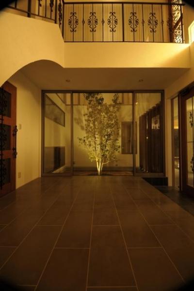 h-house (ライトアップされた中庭と広々とした玄関ホール)