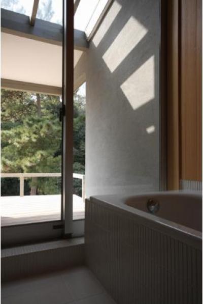 バルコニーと繋がりのあるバスルーム (MUKURI house)