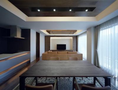 K6-house リノベーション 「格子と石の家」 (リビングダイニング)