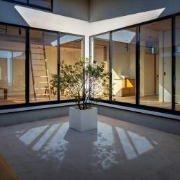 平屋・回廊の家 (回廊から中庭を建物内部を望む)