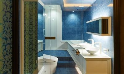 ガラス張りのトイレと洗面|G/E-HOUSE