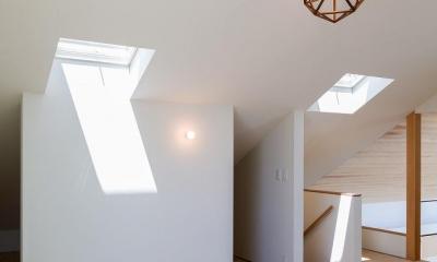 天窓と仕切り壁のある屋根裏 2 空を囲む家
