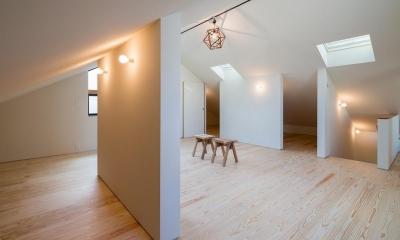 天窓と仕切り壁のある屋根裏 1|空を囲む家