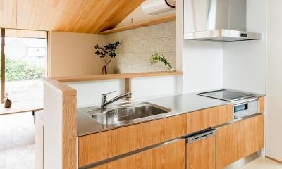 自然の恵みを感じる家 (ステンレス天板の明るい対面キッチン)