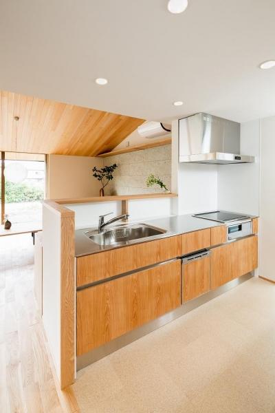 ステンレス天板の明るい対面キッチン (自然の恵みを感じる家)