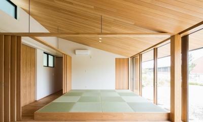 琉球畳を敷いた畳スペースと間仕切り|自然の恵みを感じる家