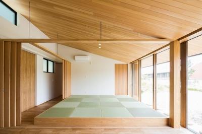 琉球畳を敷いた畳スペースと間仕切り (自然の恵みを感じる家)