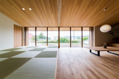 自然の恵みを感じる家 (畳スペースのある勾配天井のLDK)