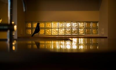 ガラスブロックから漏れる明かり 緩やかに囲む家