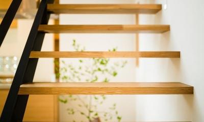 緩やかに囲む家 (オープン階段)