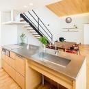 ステンレス天板のペニンシュラキッチン