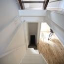 階段から玄関を眺める