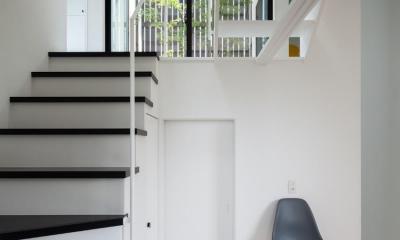 中庭のあるスキップフロアの家・OUCHI-32 (1階への階段)