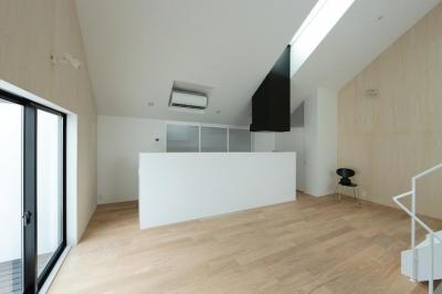 キッチン全景 (中庭のあるスキップフロアの家・OUCHI-32)