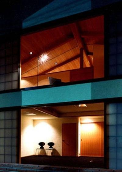 伽留羅ー世田谷の事務所併用住宅 (南外観夜景)