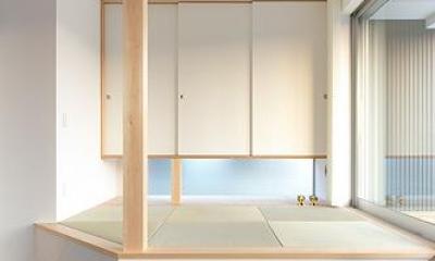 琉球畳を敷いた小上がりの畳スペース|大開口の家