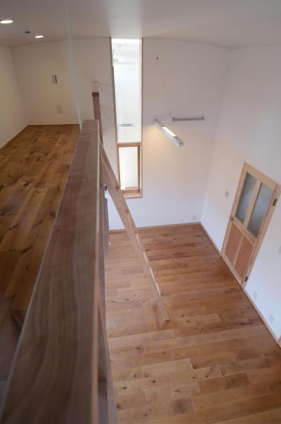 子供室(ロフトより望む) (北烏山の家(庫裏、外断熱の2世帯住宅))