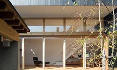 内原の家 (中庭からLDKと建物外観を望む)