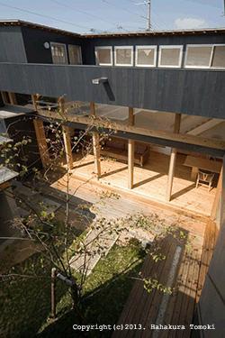 内原の家の写真 2階から中庭を見下ろす