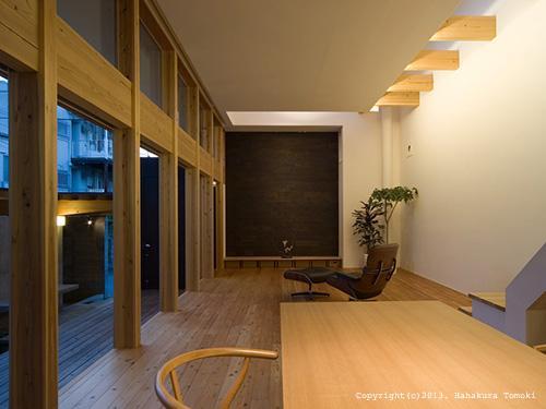 内原の家の写真 大開口の開放的なLDK (夜間)