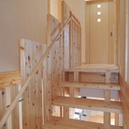 無垢材の香り漂う自然素材の住宅:地震に強い家(制震住宅+耐震住宅) (階段を上がり、2階へ)
