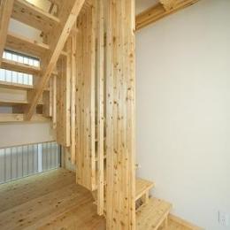 地震に強い家(制震住宅+耐震住宅) (解放感あるオリジナル木製階段)