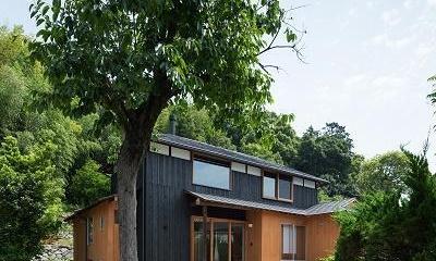 おかやまのいえ ー里山や隣近所との繋がりを住み継ぐ家ー (柿の木が出迎えるアプローチ)