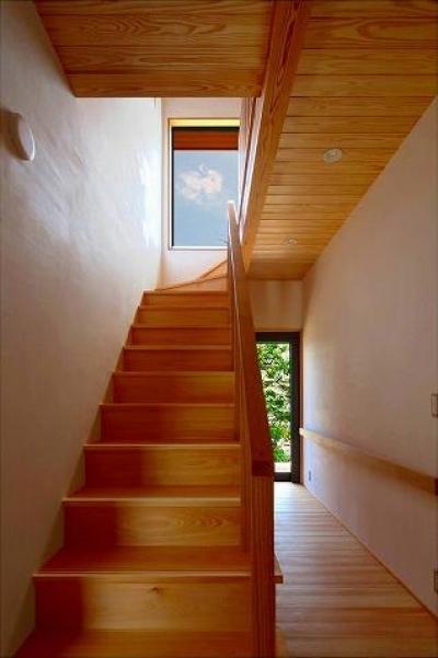 明るい日差しが射し込む階段 (知多の家)