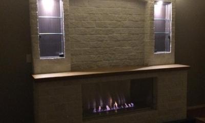 煙突の要らないエコ暖炉造作工事 (リビング)