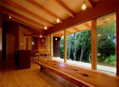 木々を望める開放的なLDK (美浜の家)